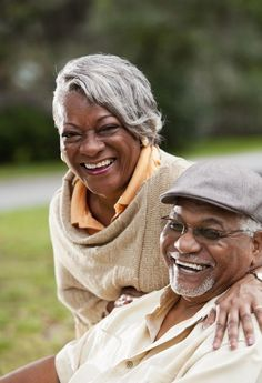 happy black elder couple